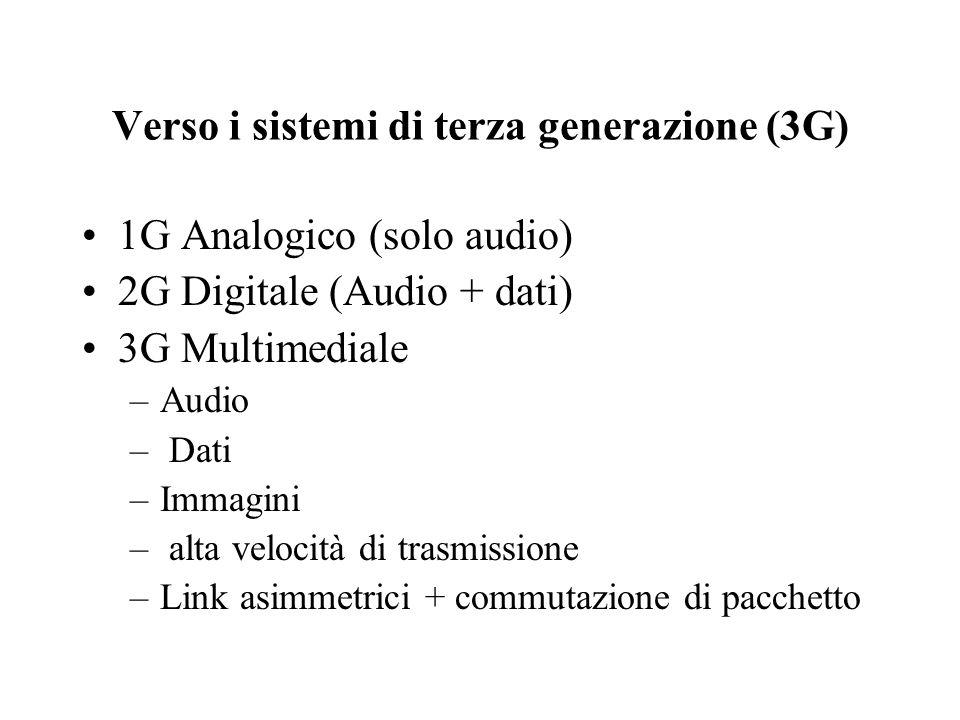 Verso i sistemi di terza generazione (3G) 1G Analogico (solo audio) 2G Digitale (Audio + dati) 3G Multimediale –Audio – Dati –Immagini – alta velocità di trasmissione –Link asimmetrici + commutazione di pacchetto