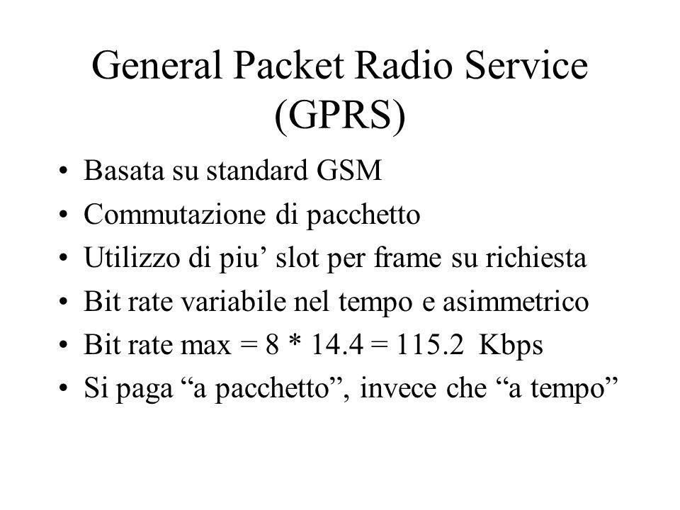 General Packet Radio Service (GPRS) Basata su standard GSM Commutazione di pacchetto Utilizzo di piu slot per frame su richiesta Bit rate variabile nel tempo e asimmetrico Bit rate max = 8 * 14.4 = 115.2 Kbps Si paga a pacchetto, invece che a tempo