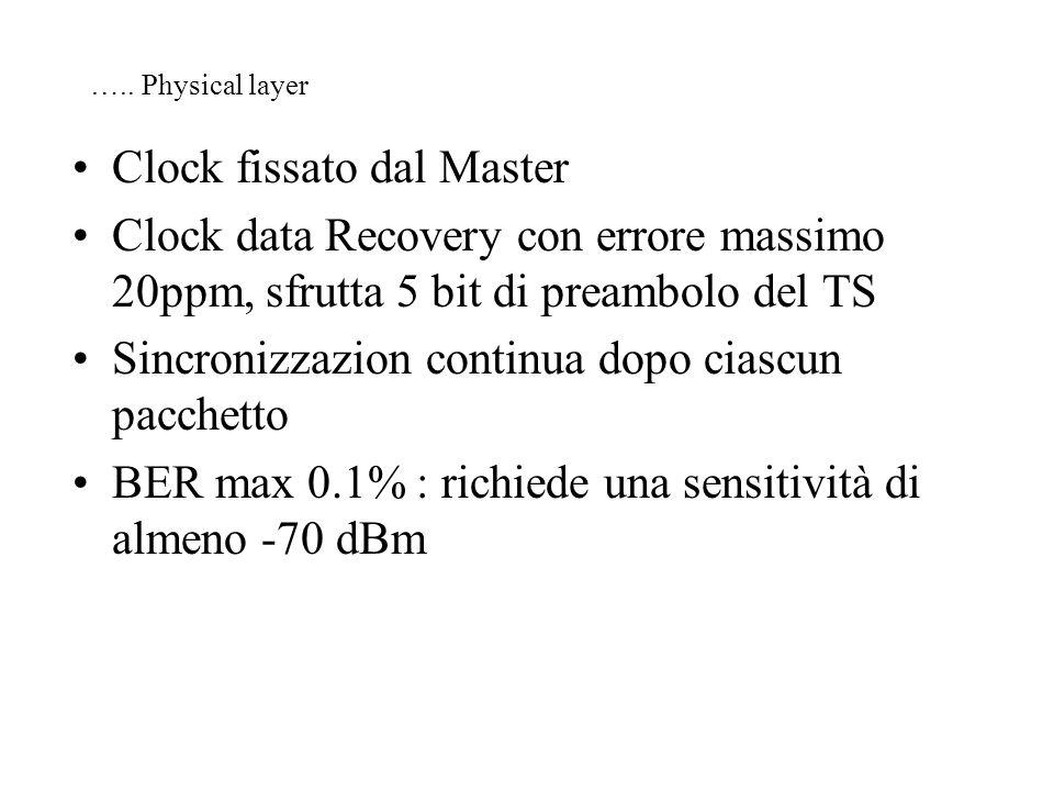 ….. Physical layer Clock fissato dal Master Clock data Recovery con errore massimo 20ppm, sfrutta 5 bit di preambolo del TS Sincronizzazion continua d