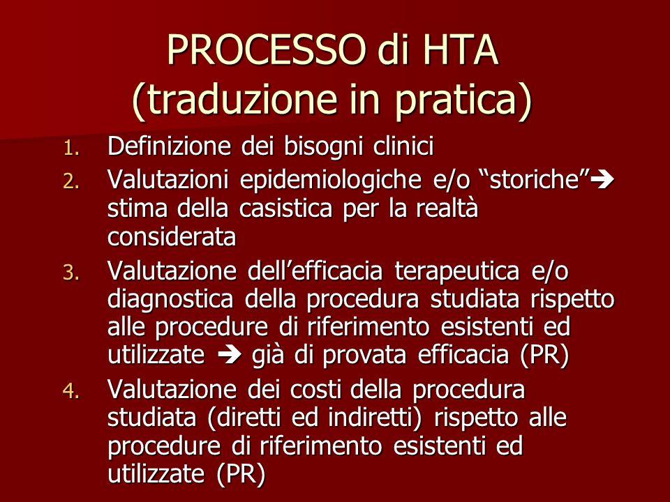 PROCESSO di HTA (traduzione in pratica) 1. Definizione dei bisogni clinici 2. Valutazioni epidemiologiche e/o storiche stima della casistica per la re