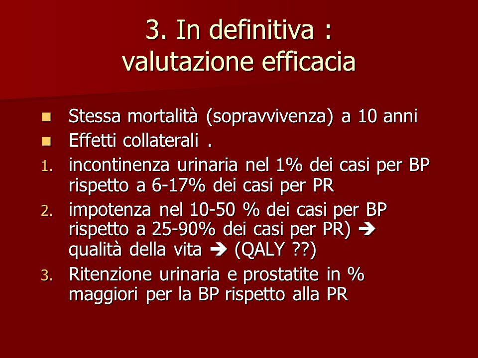 3. In definitiva : valutazione efficacia Stessa mortalità (sopravvivenza) a 10 anni Stessa mortalità (sopravvivenza) a 10 anni Effetti collaterali. Ef