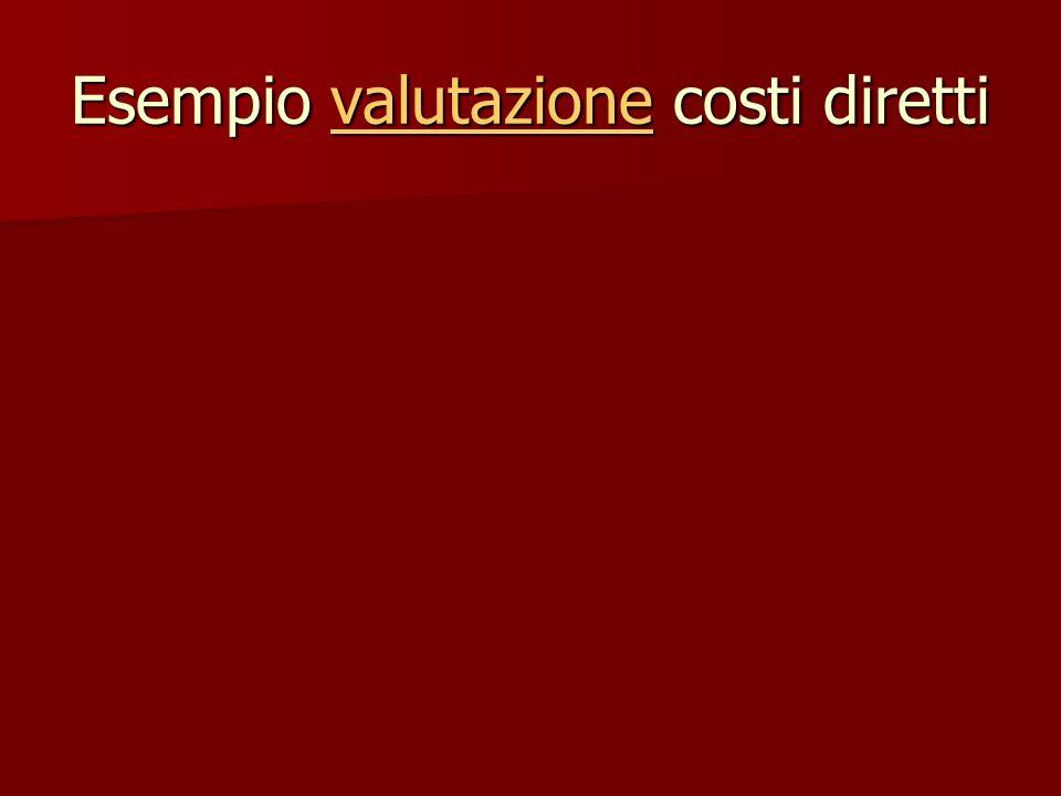Esempio valutazione costi diretti valutazione
