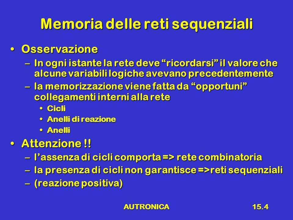 AUTRONICA15.4 Memoria delle reti sequenziali OsservazioneOsservazione –In ogni istante la rete deve ricordarsi il valore che alcune variabili logiche