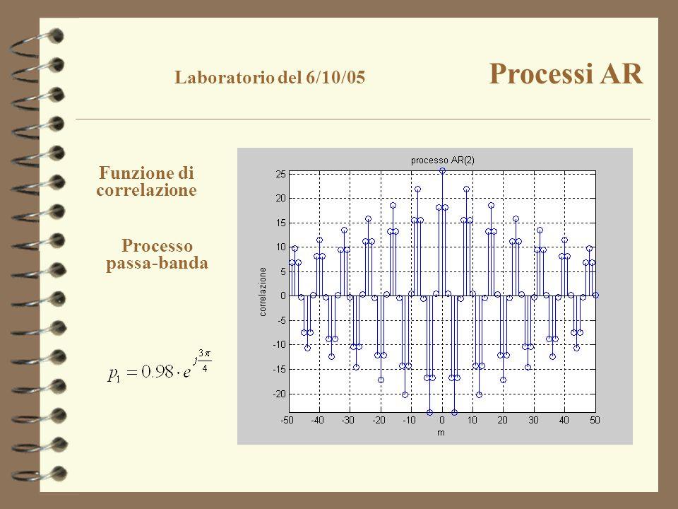 Funzione di correlazione Processo passa-banda Laboratorio del 6/10/05 Processi AR