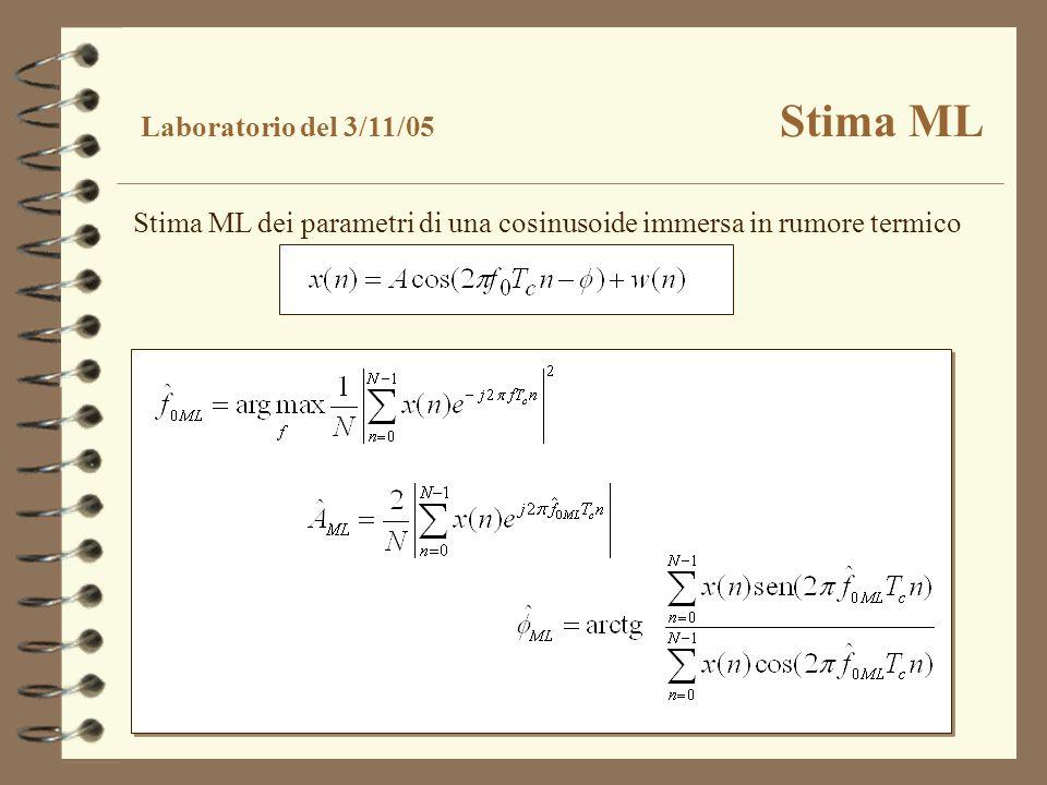 Stima ML dei parametri di una cosinusoide immersa in rumore termico Laboratorio del 3/11/05 Stima ML