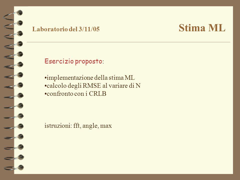 Esercizio proposto : implementazione della stima ML calcolo degli RMSE al variare di N confronto con i CRLB istruzioni: fft, angle, max Laboratorio de