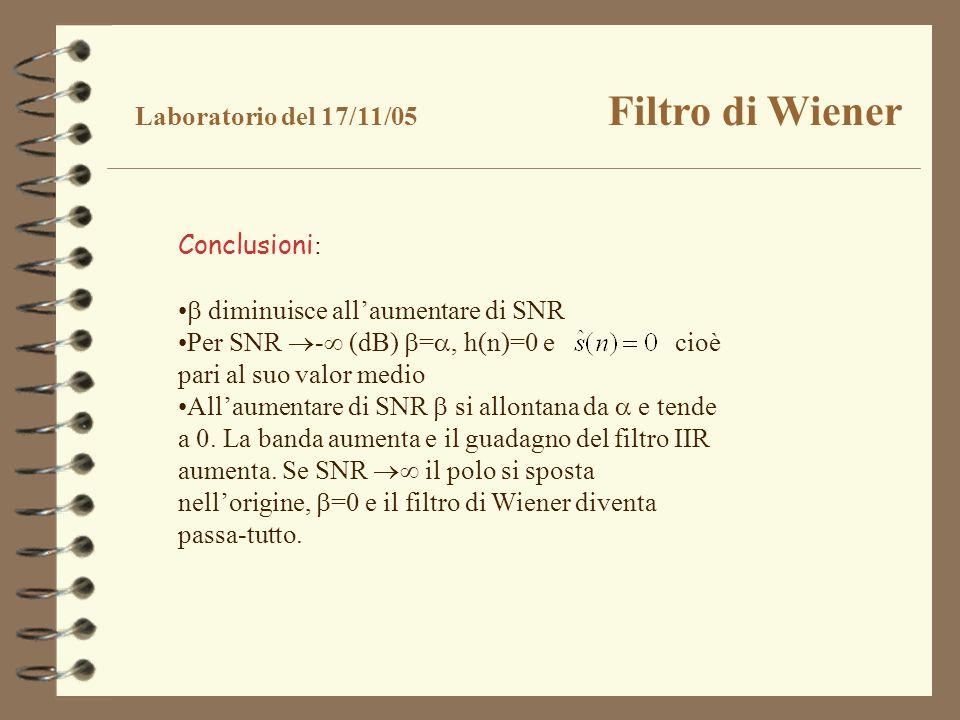 Laboratorio del 17/11/05 Filtro di Wiener Conclusioni : diminuisce allaumentare di SNR Per SNR - (dB) =, h(n)=0 e cioè pari al suo valor medio Allaume