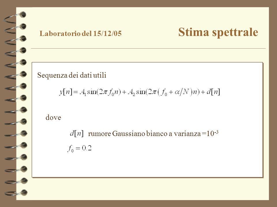 rumore Gaussiano bianco a varianza =10 -3 Laboratorio del 15/12/05 Stima spettrale Sequenza dei dati utili dove