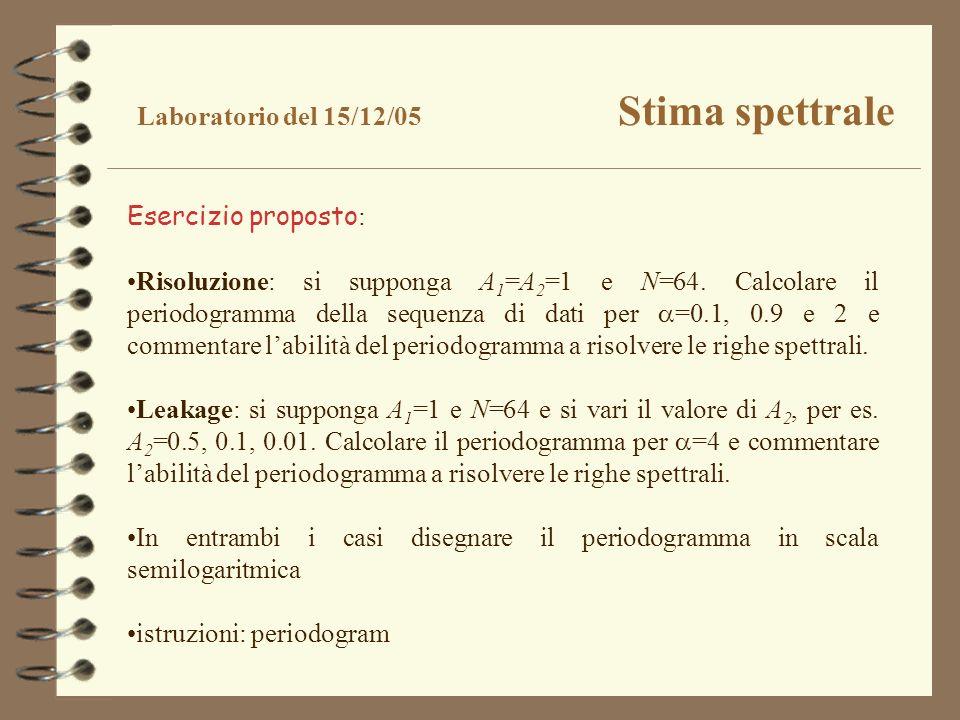 Laboratorio del 15/12/05 Stima spettrale Esercizio proposto : Risoluzione: si supponga A 1 =A 2 =1 e N=64. Calcolare il periodogramma della sequenza d