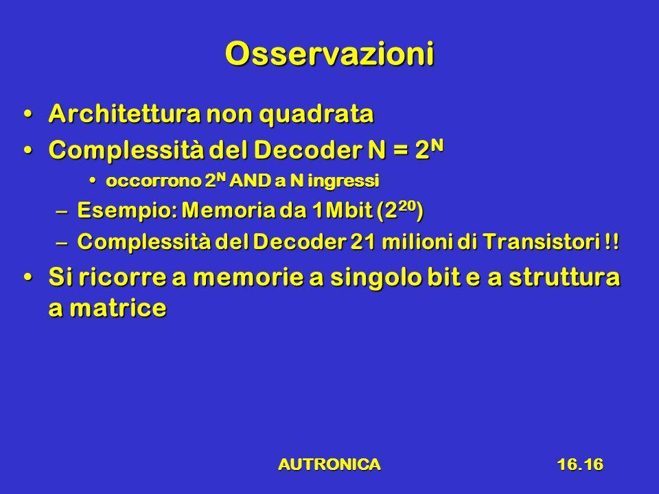 AUTRONICA16.16 Osservazioni Architettura non quadrataArchitettura non quadrata Complessità del Decoder N = 2 NComplessità del Decoder N = 2 N occorron