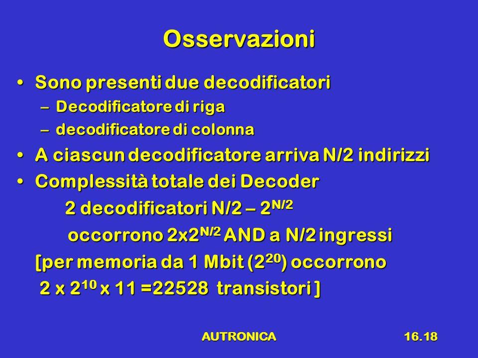 AUTRONICA16.18 Osservazioni Sono presenti due decodificatoriSono presenti due decodificatori –Decodificatore di riga –decodificatore di colonna A cias