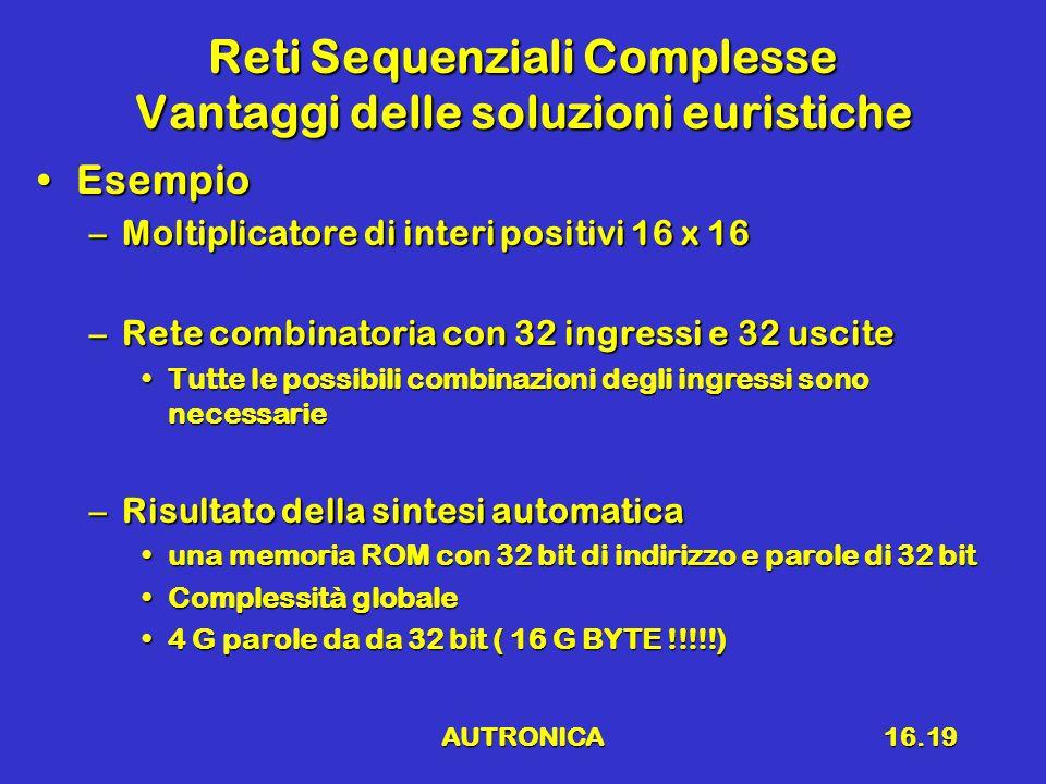 AUTRONICA16.19 Reti Sequenziali Complesse Vantaggi delle soluzioni euristiche EsempioEsempio –Moltiplicatore di interi positivi 16 x 16 –Rete combinat