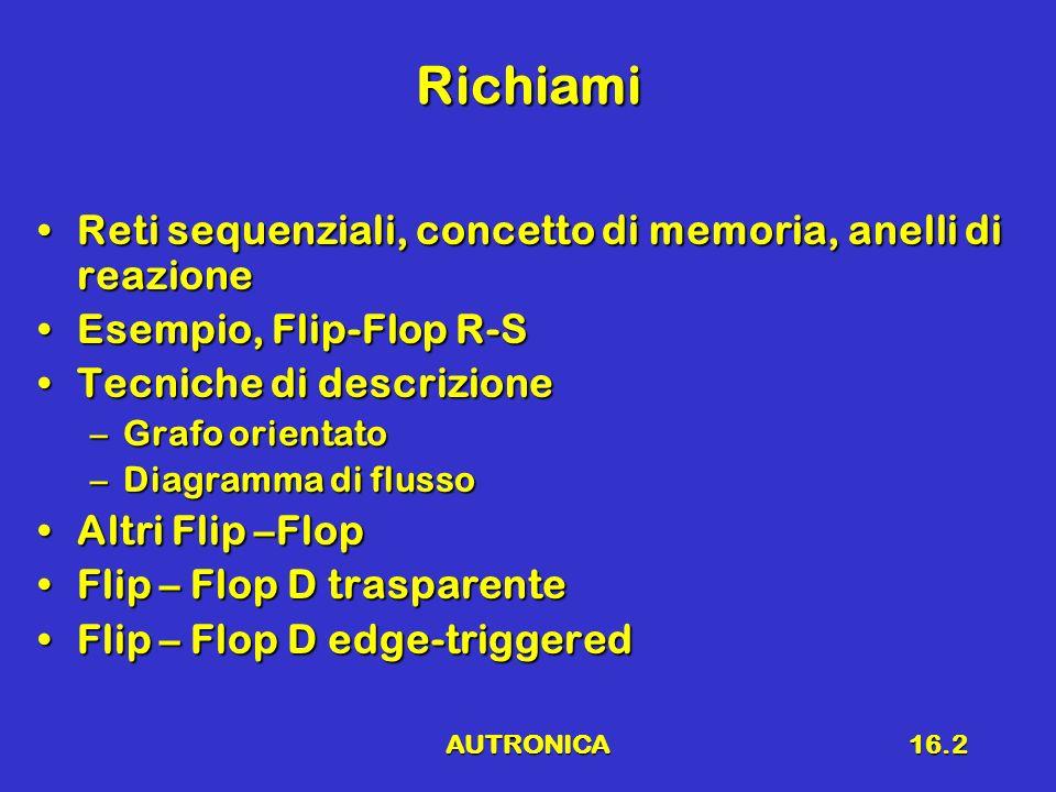 AUTRONICA16.2 Richiami Reti sequenziali, concetto di memoria, anelli di reazioneReti sequenziali, concetto di memoria, anelli di reazione Esempio, Fli