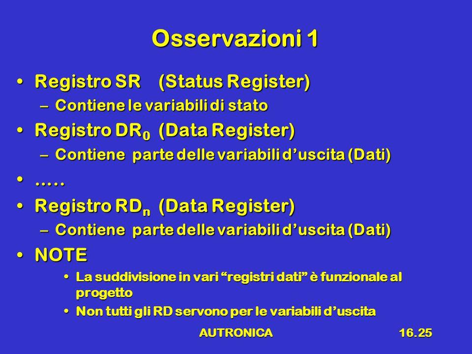 AUTRONICA16.25 Osservazioni 1 Registro SR(Status Register)Registro SR(Status Register) –Contiene le variabili di stato Registro DR 0 (Data Register)Re
