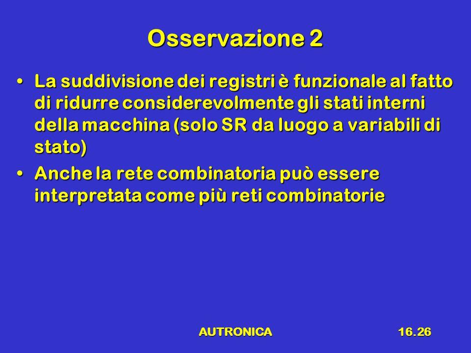 AUTRONICA16.26 Osservazione 2 La suddivisione dei registri è funzionale al fatto di ridurre considerevolmente gli stati interni della macchina (solo S