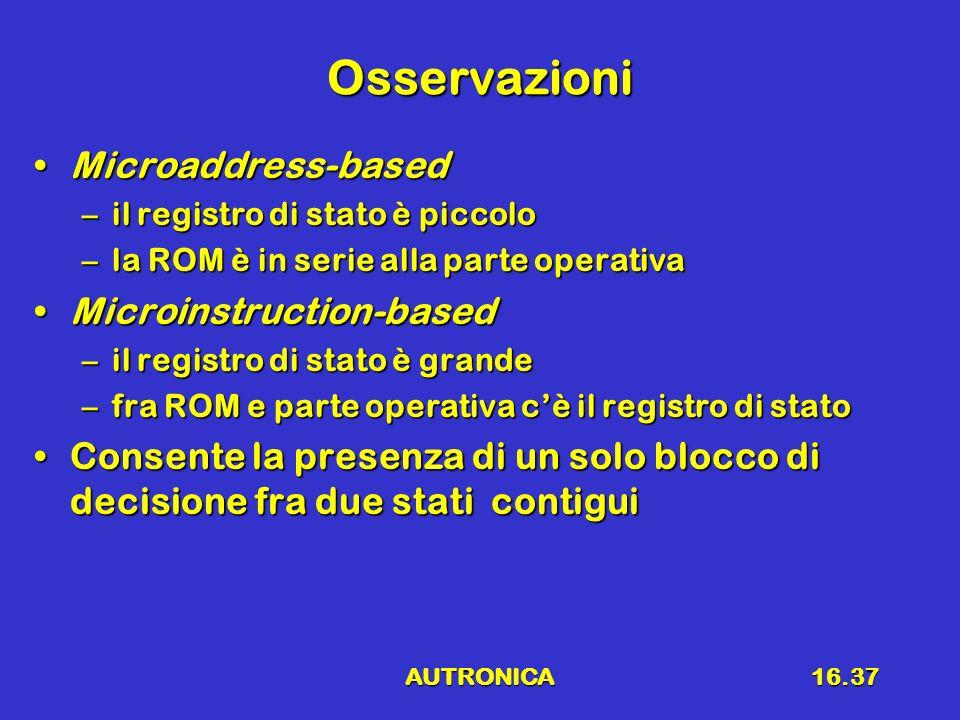 AUTRONICA16.37 Osservazioni Microaddress-basedMicroaddress-based –il registro di stato è piccolo –la ROM è in serie alla parte operativa Microinstruct