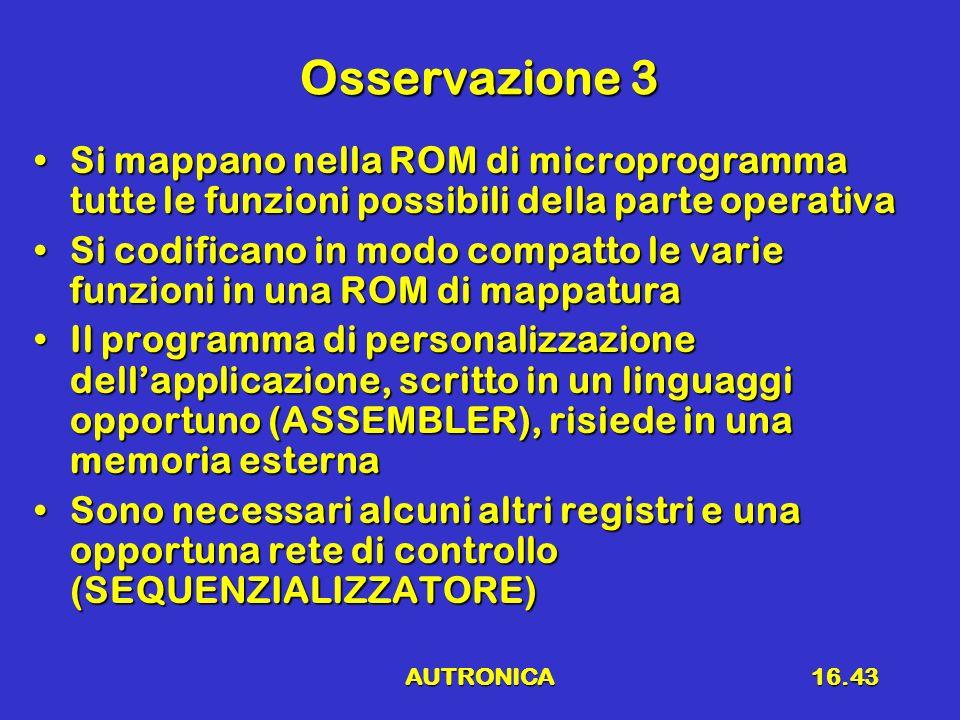 AUTRONICA16.43 Osservazione 3 Si mappano nella ROM di microprogramma tutte le funzioni possibili della parte operativaSi mappano nella ROM di micropro