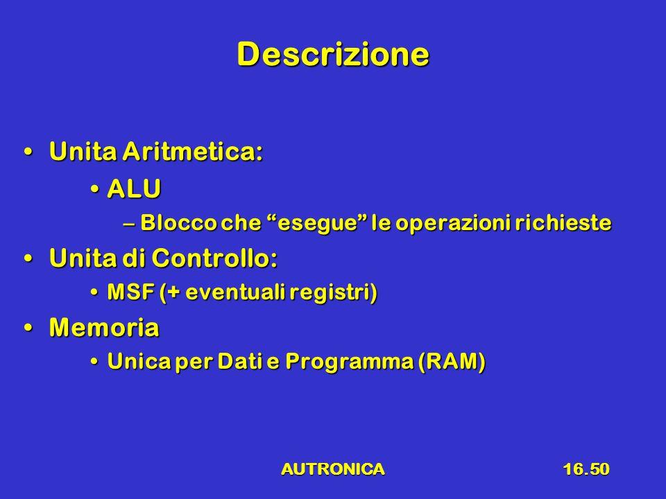AUTRONICA16.50 Descrizione Unita Aritmetica:Unita Aritmetica: ALUALU –Blocco che esegue le operazioni richieste Unita di Controllo:Unita di Controllo: