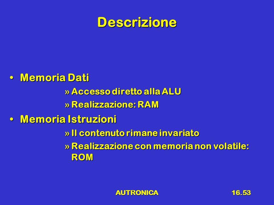 AUTRONICA16.53 Descrizione Memoria DatiMemoria Dati »Accesso diretto alla ALU »Realizzazione: RAM Memoria IstruzioniMemoria Istruzioni »Il contenuto r