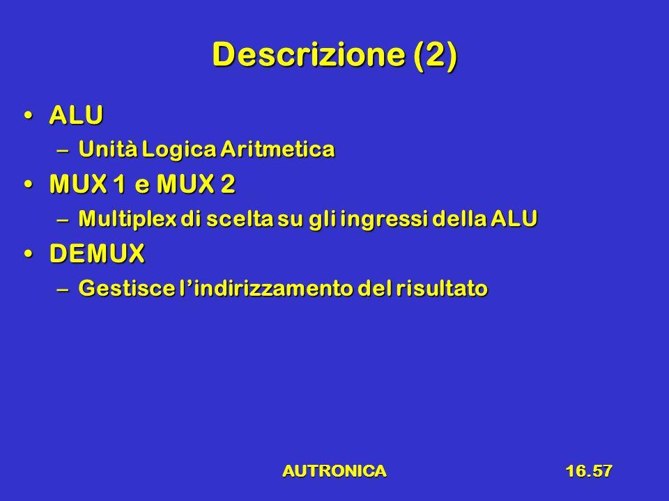 AUTRONICA16.57 Descrizione (2) ALUALU –Unità Logica Aritmetica MUX 1 e MUX 2MUX 1 e MUX 2 –Multiplex di scelta su gli ingressi della ALU DEMUXDEMUX –G