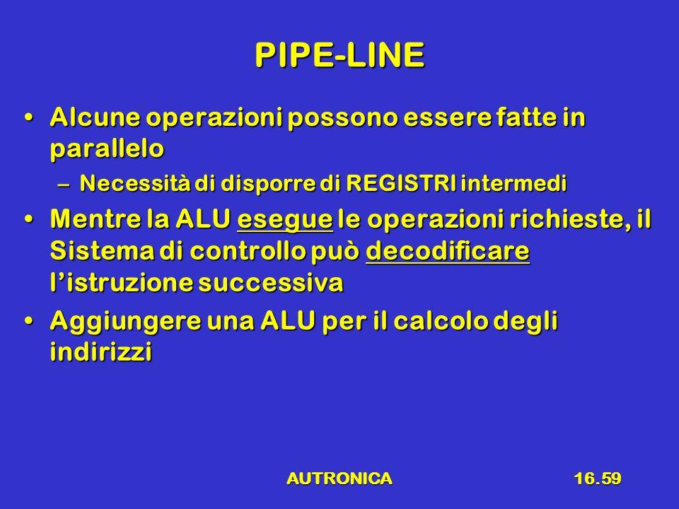 AUTRONICA16.59 PIPE-LINE Alcune operazioni possono essere fatte in paralleloAlcune operazioni possono essere fatte in parallelo –Necessità di disporre