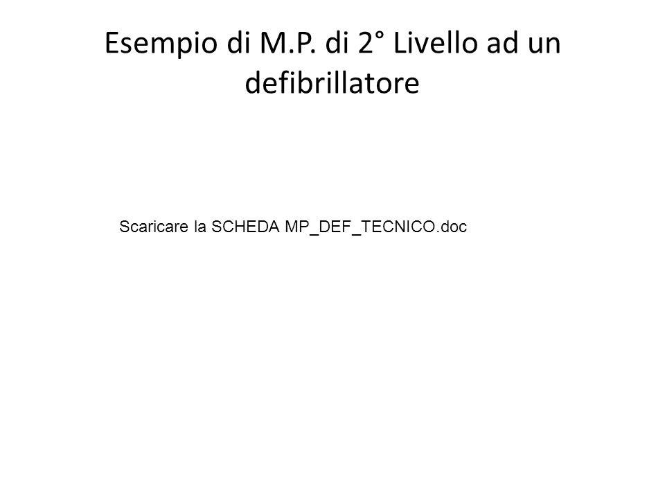 Esempio di M.P. di 2° Livello ad un defibrillatore Scaricare la SCHEDA MP_DEF_TECNICO.doc