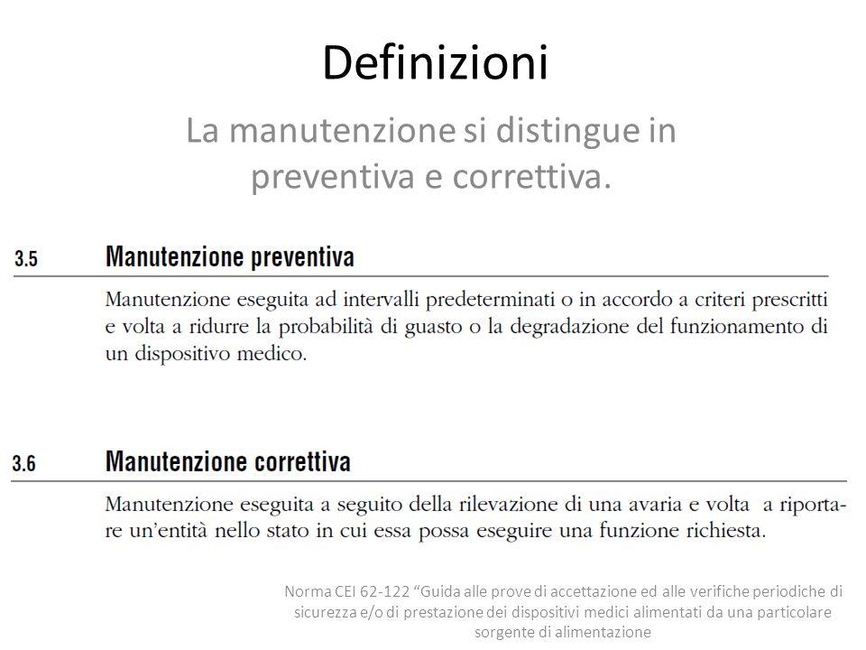 Definizioni La manutenzione si distingue in preventiva e correttiva. Norma CEI 62-122 Guida alle prove di accettazione ed alle verifiche periodiche di