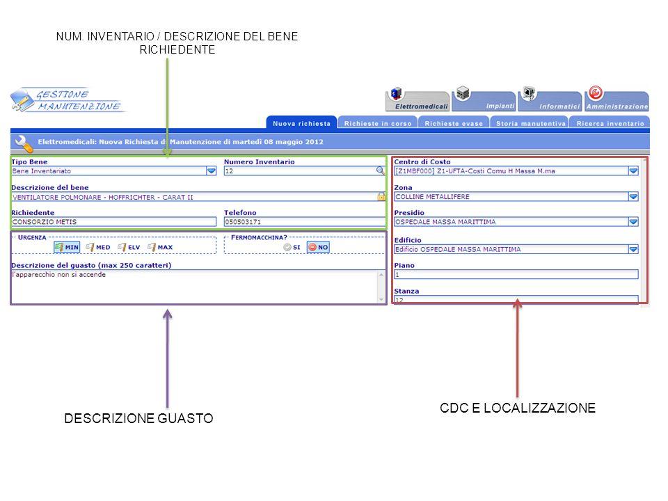 DESCRIZIONE GUASTO NUM. INVENTARIO / DESCRIZIONE DEL BENE RICHIEDENTE CDC E LOCALIZZAZIONE