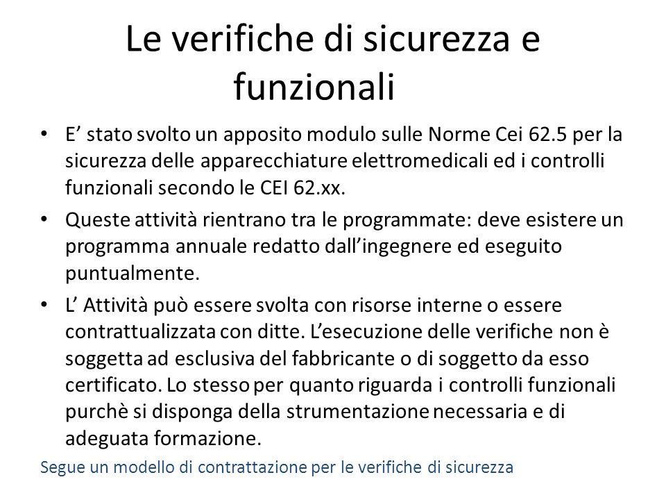 Le verifiche di sicurezza e funzionali E stato svolto un apposito modulo sulle Norme Cei 62.5 per la sicurezza delle apparecchiature elettromedicali ed i controlli funzionali secondo le CEI 62.xx.