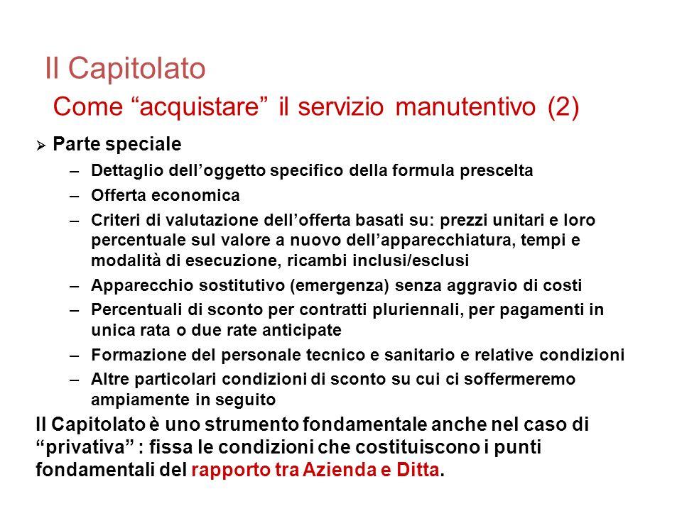 Il Capitolato Come acquistare il servizio manutentivo (2) Parte speciale –Dettaglio delloggetto specifico della formula prescelta –Offerta economica –
