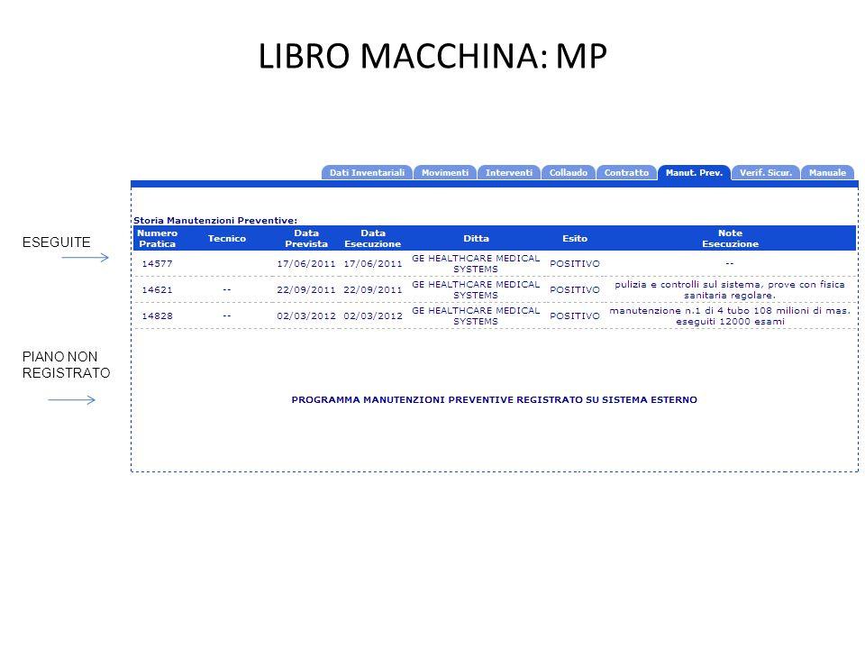 LIBRO MACCHINA: MP ESEGUITE PIANO NON REGISTRATO