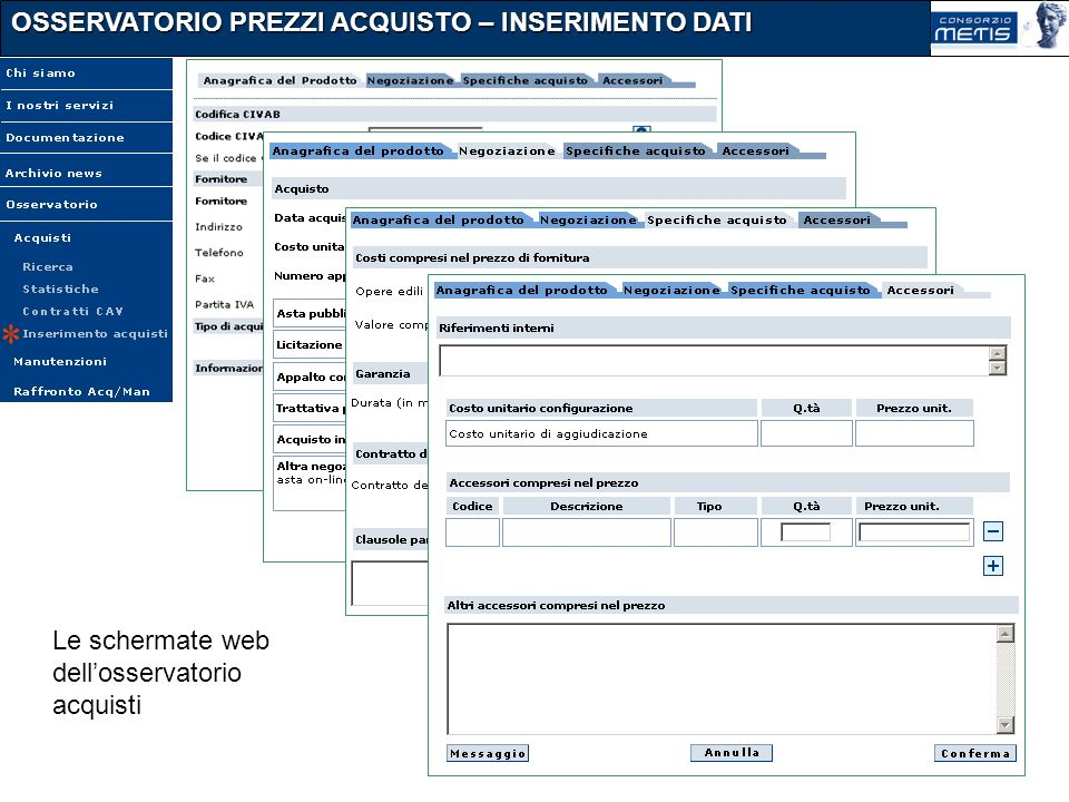 OSSERVATORIO PREZZI ACQUISTO – INSERIMENTO DATI Le schermate web dellosservatorio acquisti