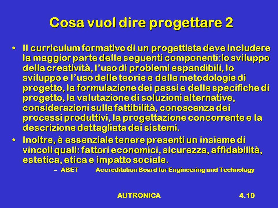 AUTRONICA4.10 Cosa vuol dire progettare 2 Il curriculum formativo di un progettista deve includere la maggior parte delle seguenti componenti:lo svilu