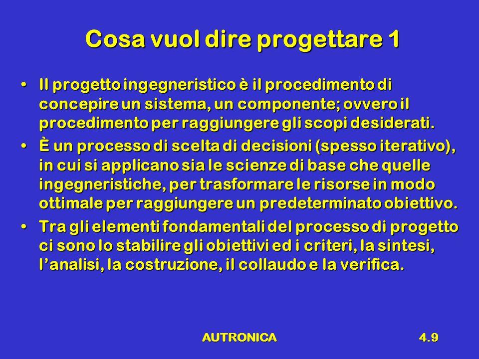 AUTRONICA4.9 Cosa vuol dire progettare 1 Il progetto ingegneristico è il procedimento di concepire un sistema, un componente; ovvero il procedimento p