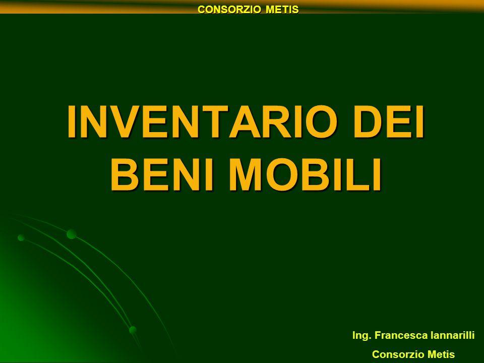 INVENTARIO DEI BENI MOBILI Ing. Francesca Iannarilli Consorzio Metis CONSORZIO METIS