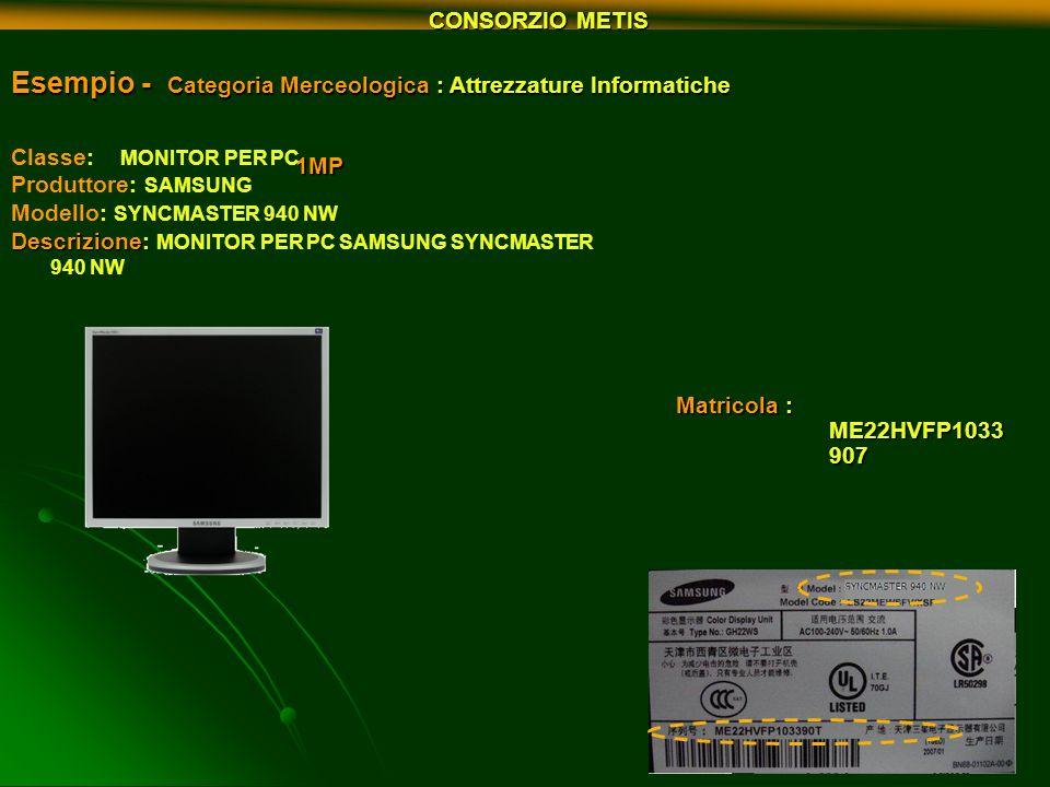 Esempio - Categoria Merceologica : Attrezzature Informatiche 1MP Matricola : ME22HVFP1033 907 Classe: MONITOR PER PC Produttore: SAMSUNG Modello: SYNC