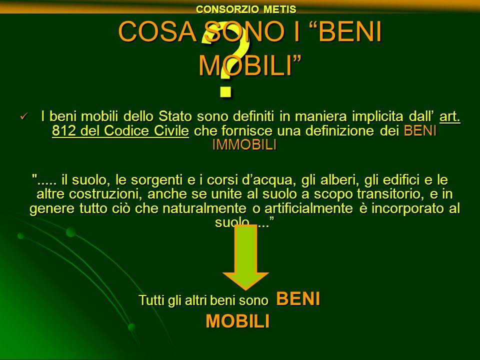 ? COSA SONO I BENI MOBILI I beni mobili dello Stato sono definiti in maniera implicita dall art. 812 del Codice Civile che fornisce una definizione de