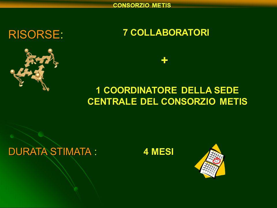 RISORSE: 7 COLLABORATORI 7 COLLABORATORI+ 1 COORDINATORE DELLA SEDE CENTRALE DEL CONSORZIO METIS DURATA STIMATA : 4 MESI CONSORZIO METIS