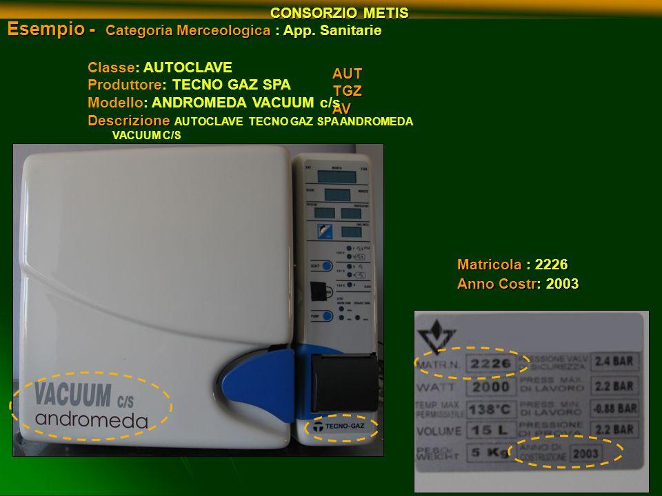 Esempio - Categoria Merceologica : App. Sanitarie AUTTGZAV Matricola : 2226 Anno Costr: 2003 Classe: AUTOCLAVE Produttore: TECNO GAZ SPA Modello: ANDR