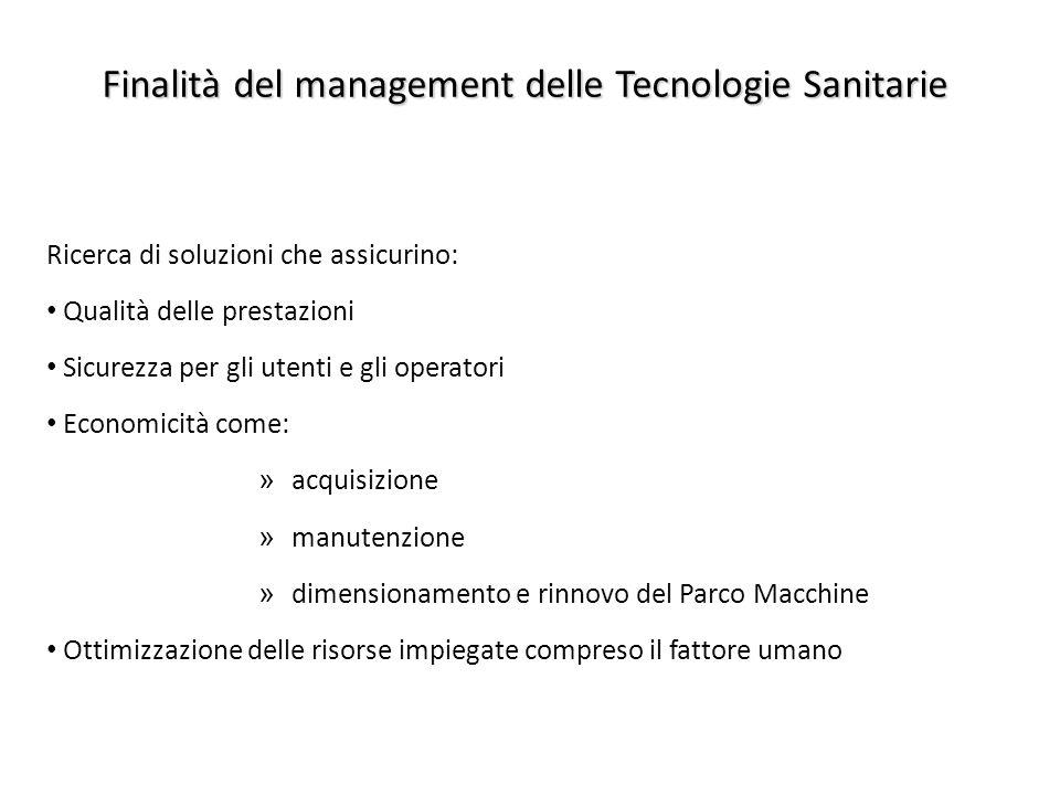 Finalità del management delle Tecnologie Sanitarie Ricerca di soluzioni che assicurino: Qualità delle prestazioni Sicurezza per gli utenti e gli opera