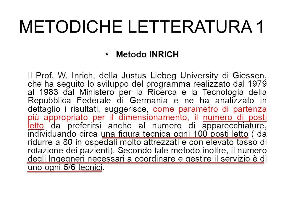 METODICHE LETTERATURA 1 Metodo INRICH Il Prof. W. Inrich, della Justus Liebeg University di Giessen, che ha seguito lo sviluppo del programma realizza