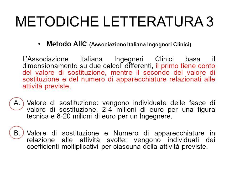 Metodo AIIC (Associazione Italiana Ingegneri Clinici) LAssociazione Italiana Ingegneri Clinici basa il dimensionamento su due calcoli differenti, il p