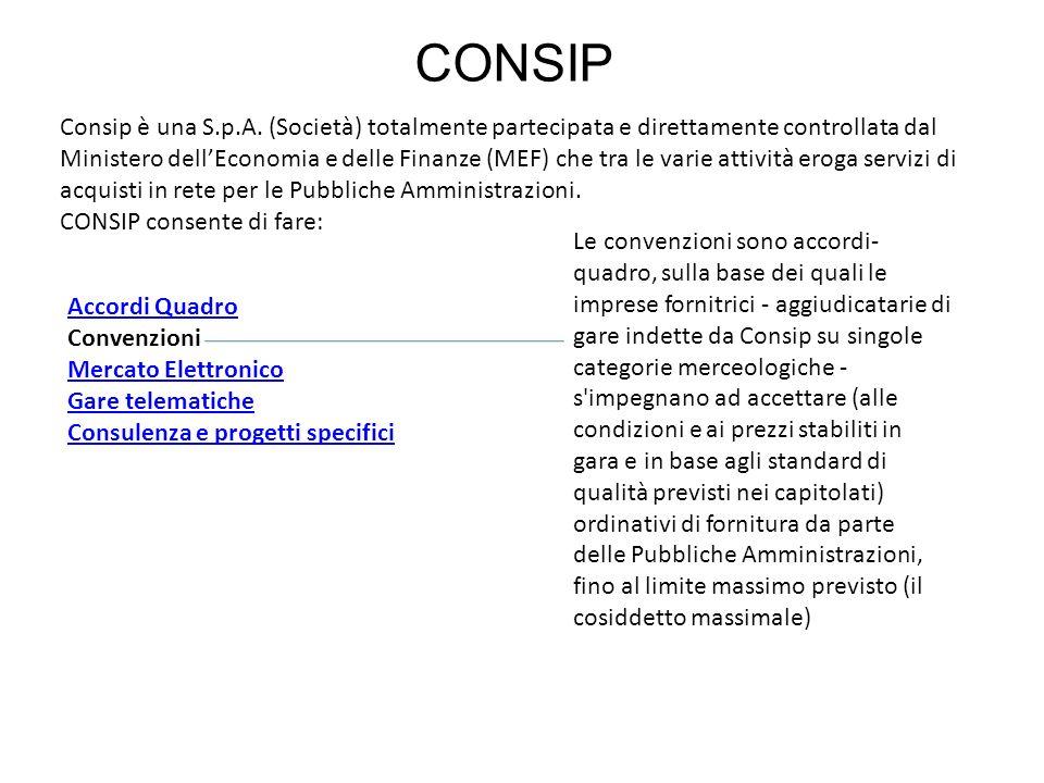 CONSIP Consip è una S.p.A. (Società) totalmente partecipata e direttamente controllata dal Ministero dellEconomia e delle Finanze (MEF) che tra le var