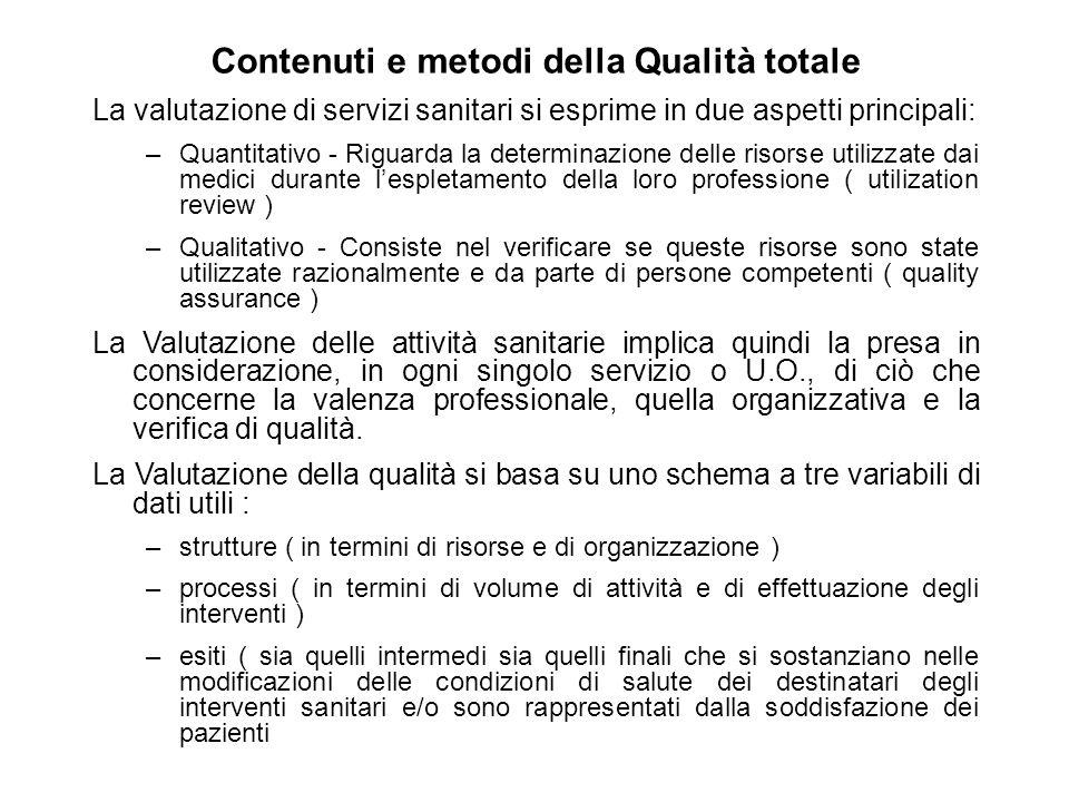 Contenuti e metodi della Qualità totale La valutazione di servizi sanitari si esprime in due aspetti principali: –Quantitativo - Riguarda la determina