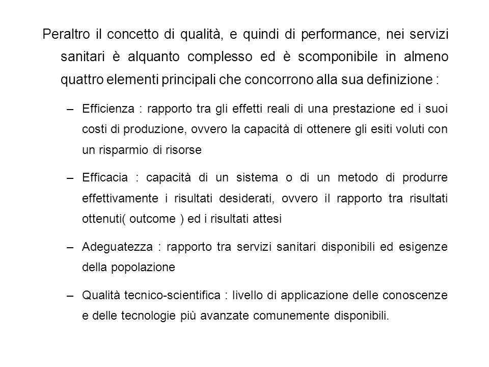 Peraltro il concetto di qualità, e quindi di performance, nei servizi sanitari è alquanto complesso ed è scomponibile in almeno quattro elementi princ