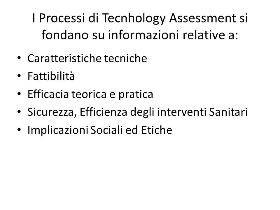 I Processi di Tecnhology Assessment si fondano su informazioni relative a: Caratteristiche tecniche Fattibilità Efficacia teorica e pratica Sicurezza,