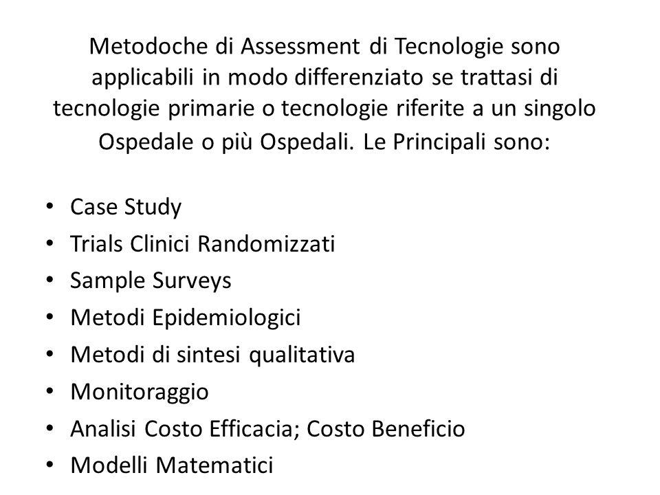 Metodoche di Assessment di Tecnologie sono applicabili in modo differenziato se trattasi di tecnologie primarie o tecnologie riferite a un singolo Osp