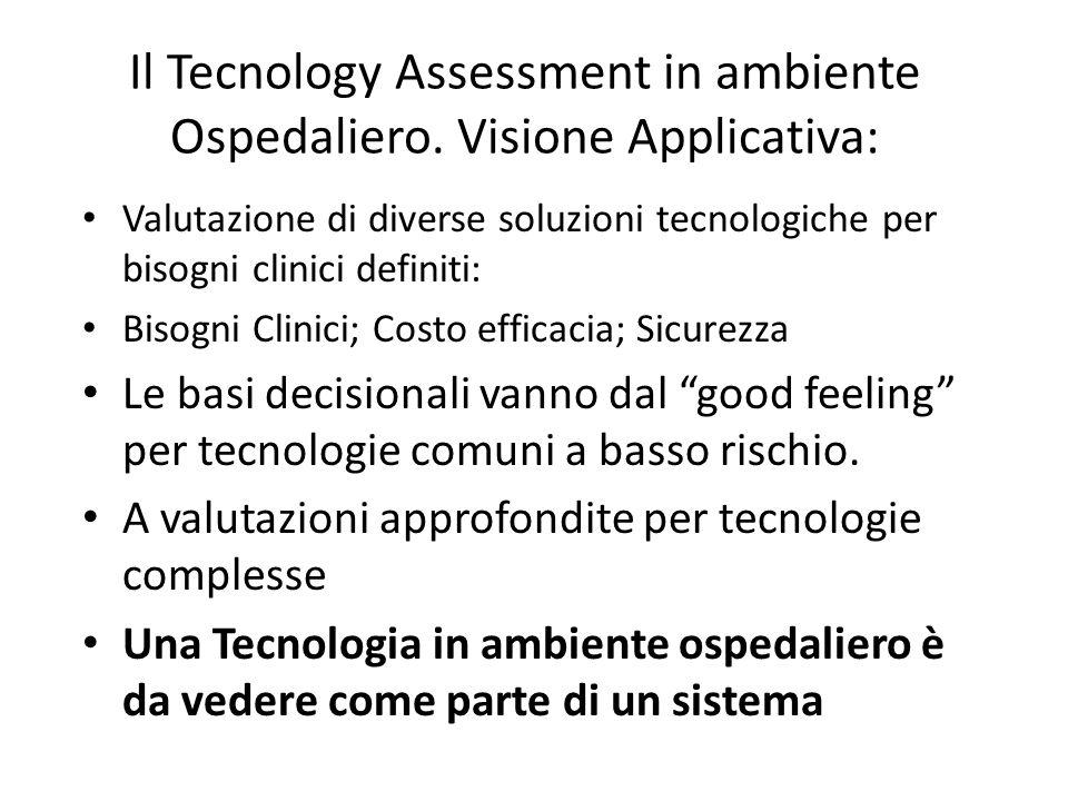 Il Tecnology Assessment in ambiente Ospedaliero. Visione Applicativa: Valutazione di diverse soluzioni tecnologiche per bisogni clinici definiti: Biso