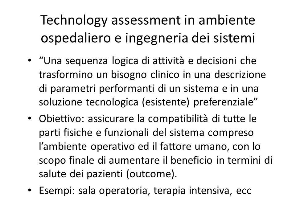Technology assessment in ambiente ospedaliero e ingegneria dei sistemi Una sequenza logica di attività e decisioni che trasformino un bisogno clinico