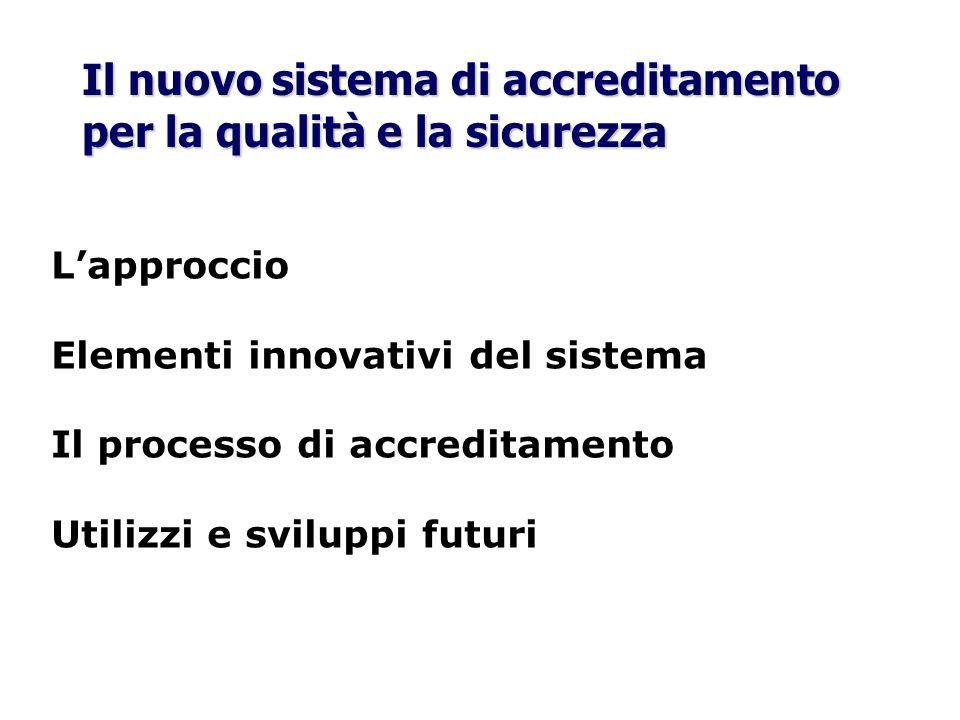 Il nuovo sistema di accreditamento per la qualità e la sicurezza Lapproccio Elementi innovativi del sistema Il processo di accreditamento Utilizzi e s